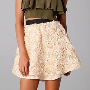 Free People applique rossette mini skirt tulle M